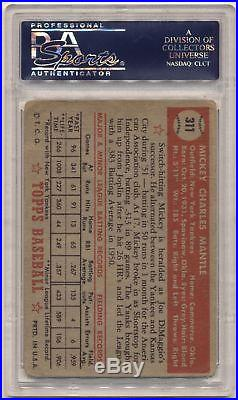 1952 Topps 311 Mickey Mantle PSA 1.5 561635