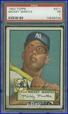 1952 Topps 311 Mickey Mantle PSA 1 (8709)