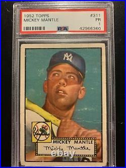 1952 Topps #311 Mickey Mantle PSA 1 Amazing Centering