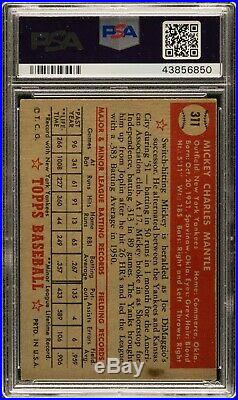 1952 Topps #311 Mickey Mantle PSA 4VERY BOLD COLORGOOD EYE APPEALRARE FIND