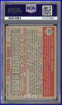 1952 Topps #311 Mickey Mantle PSA 6+ Recently Graded + Borderline PSA 7