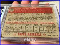 1952 Topps #311 Mickey Mantle PSA AUTHENTIC New York Yankees baseball card