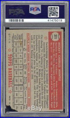 1952 Topps #311 Mickey Mantle PSA Authentic Decently Centered withVibrant Color