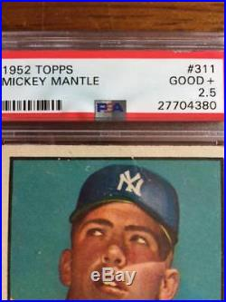 1952 Topps #311 Mickey Mantle PSA Good+ 2.5 New York Yankees Rookie Card