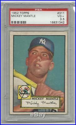 1952 Topps #311 Mickey Mantle PSA Graded 3.5 VG+ New York Yankees