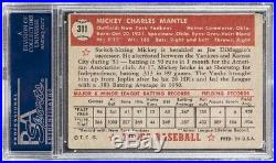 1952 Topps #311 Mickey Mantle Psa 2.5 Rookie