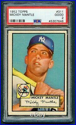 1952 Topps #311 Mickey Mantle Psa 2 Good Rookie