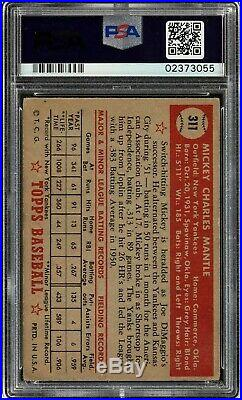 1952 Topps #311 Mickey Mantle Psa 3 Vg Rookie