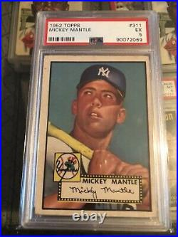 1952 Topps #311 Mickey Mantle Psa 5 Rookie