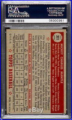 1952 Topps #311 Mickey Mantle Psa 6 Rookie
