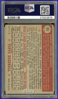 1952 Topps #311 Mickey Mantle RC Rookie HOF PSA 1 POOR FANTASTIC CENTERING