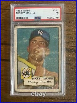 1952 Topps #311 Mickey Mantle RC Rookie HOF PSA 1 POOR. Most Iconic Card Ever