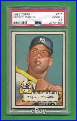 1952 Topps #311 Mickey Mantle Rookie Card PSA Good+ 2.5 New York Yankees