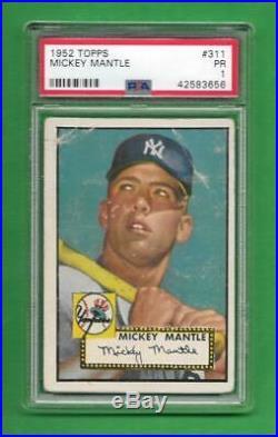 1952 Topps #311 Mickey Mantle Rookie Card PSA Poor 1 NY Yankees HOF
