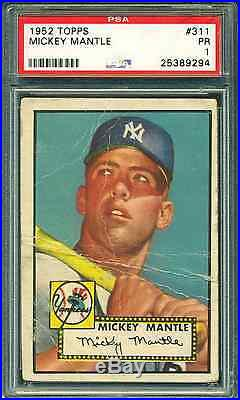 1952 Topps #311 Mickey Mantle Rookie Card Psa 1