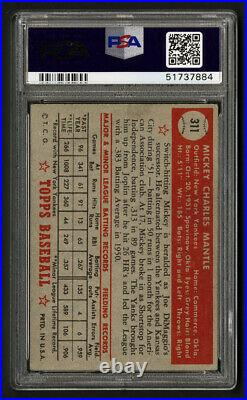 1952 Topps #311 Mickey Mantle Rookie Card Psa 2 Good Centered
