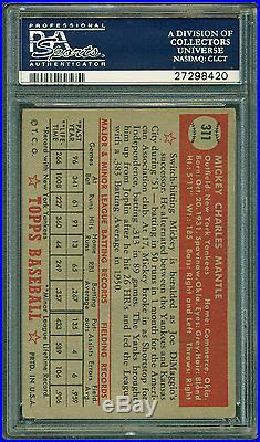 1952 Topps #311 Mickey Mantle Rookie Card Psa 3 Very Good