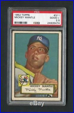 1952 Topps #311 Mickey Mantle Rookie PSA 2.5 Centered