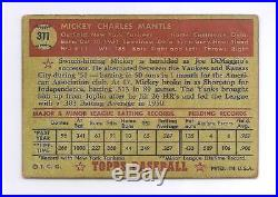 1952 Topps #311 Mickey Mantle Rookie RC Baseball Card