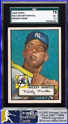 1952 Topps #311 Mickey Mantle Rookie SGC 70/5.5 = PSA 5.5 or PSA 5 Iconic! Hol