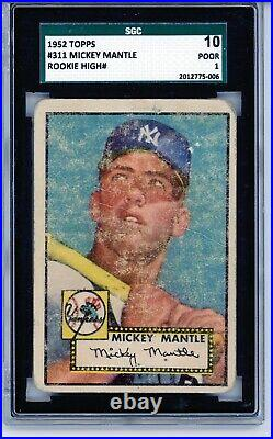 1952 Topps #311 Mickey Mantle SGC 1 PSA 1 Rookie RC Baseball Card