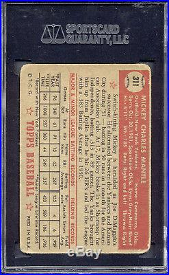 1952 Topps #311 Mickey Mantle SGC 35 = 2.5