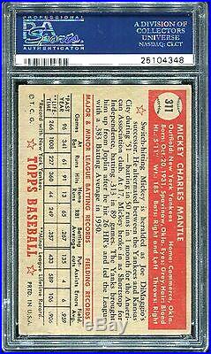 1952 Topps #311 Mickey Mantle Yankees PSA 4 VgEX. Elite Centering, Amazing card