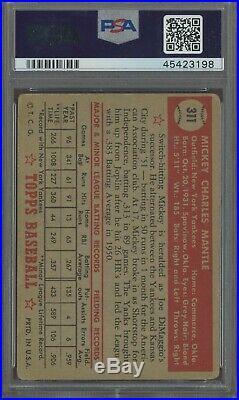 1952 Topps #311 Mickey Mantle Yankees RC Rookie HOF PSA 2 HIGH# LOOKS VG