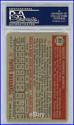 1952 Topps #311 Mickey Mantle Yankees RC Rookie HOF WELL CENTERED PSA 4