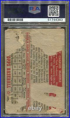 1952 Topps Baseball #311 Mickey Mantle PSA Auth 4363