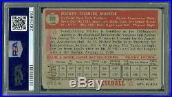 1952 Topps Baseball #311 Mickey Mantle Rookie Card Psa 2 Mk Hof