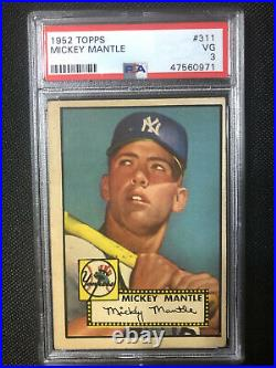 1952 Topps Baseball Mickey Mantle ROOKIE RC Card # 311 PSA 3 RECENTLY GRADED