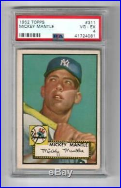 1952 Topps Baseball Mickey Mantle Rookie Card # 311 PSA 4 Vg-Ex Recent Grade