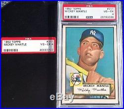 1952 Topps Baseball Rookie #311 Mickey Mantle Psa Vg-ex 4 Hof
