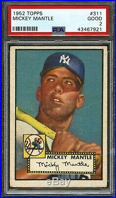 1952 Topps MICKEY MANTLE #311 Yankees PSA 2 GOOD
