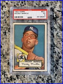 1952 Topps MICKEY MANTLE PSA 5 EX Rookie Rc #311 Amazing Color High End-PMJS