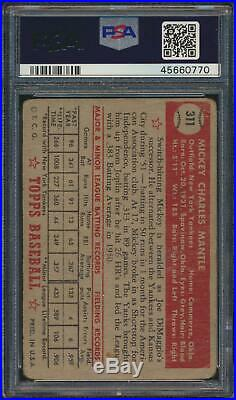 1952 Topps MICKEY MANTLE Rookie New York Yankees PSA 1 WELL CENTERED
