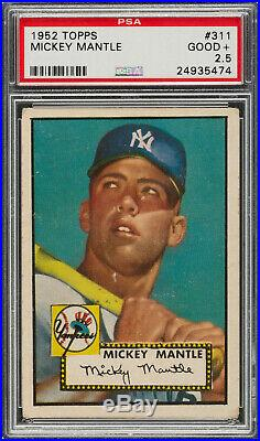 1952 Topps MICKEY MANTLE Rookie New York Yankees PSA 2.5