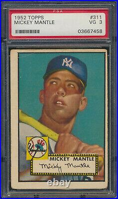 1952 Topps MICKEY MANTLE Rookie New York Yankees PSA 3