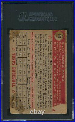1952 Topps MICKEY MANTLE Rookie New York Yankees SGC 1
