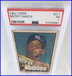 1952 Topps Mickey Mantle #311 PSA 1