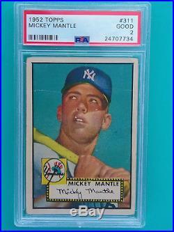 1952 Topps Mickey Mantle #311 PSA 2 HOF New York Yankees Legend Centered