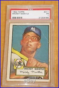 1952 Topps Mickey Mantle #311 Psa 1 Rc Rookie Yankees Hof Grail