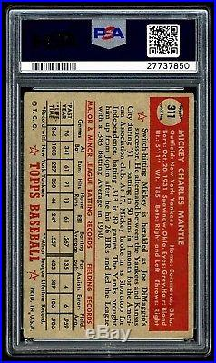 1952 Topps Mickey Mantle #311 Psa 2.5++ Clean Example With No Creases