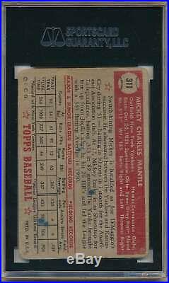 1952 Topps Mickey Mantle #311 Rc Rookie Card High # Sgc 1 Poor Yankees C3057