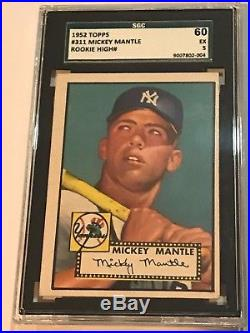 1952 Topps Mickey Mantle #311 SGC 60 EX 5 Wonderful Color