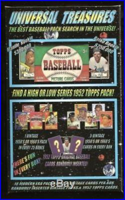 1952 Topps Mickey Mantle Chase Card Box 18 packs 5 1950s or 1960's cards per box