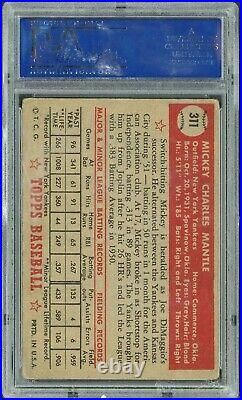 1952 Topps Mickey Mantle ROOKIE RC Card #311 PSA 2 Nicely Centered