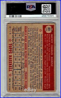 1952 Topps Mickey Mantle Rookie #311 Psa 2 New Label Beautiful Centered Grail Rc