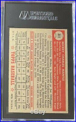 1952 Topps Mickey Mantle Rookie #311 SGC 5.5 Gorgeous Card
